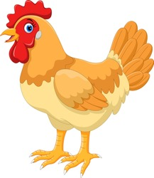 Vector Illustration of cute cartoon hen isolated on white background