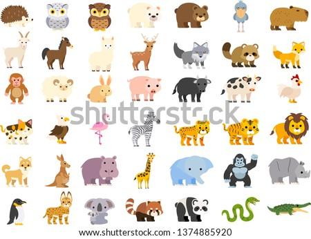 Vector illustration of cute cartoon zoo animals set: crocodile bear panda raccoon koala penguin rhino gorilla elephant giraffe hippo dog lion tiger cat cow pig rabbit sheep fox monkey wolf hedgehog