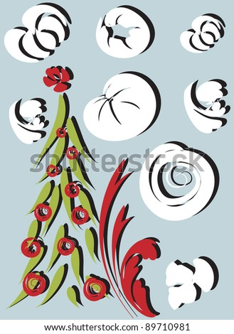 illustration of cute colored Christmas tree, Christmas background ...