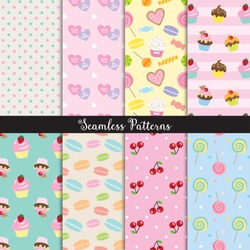 Vector illustration of cute dessert seamless pattern set.