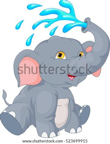 vector illustration of cute elephant cartoon