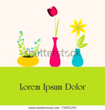 Vector illustration of cute flowers in vases - stock vector