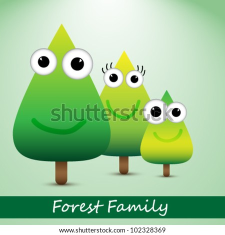 Vector illustration of cute forrest family