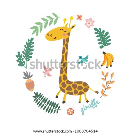 Vector illustration of cute giraffe and tropical leaves. Childish background with smiling cartoon character