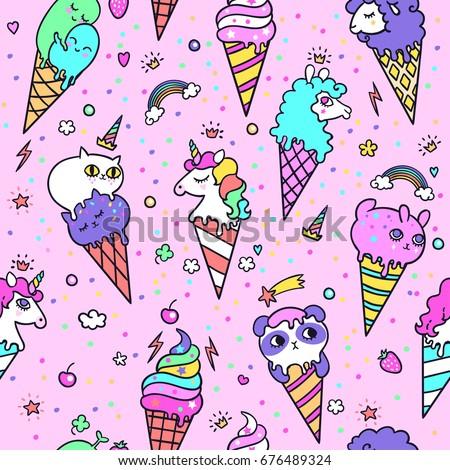 vector illustration of cute ice