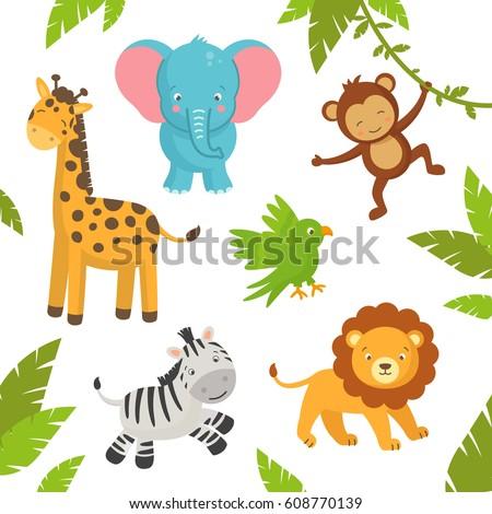 Vector Illustration of Cute Jungle Animals