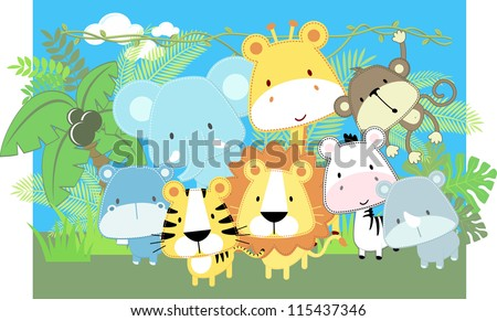 Image of: Clip Art Vector Illustration Of Cute Jungle Baby Animals And Jungle Plants Vecteezy Wild Animals In The Jungle Safari Download Free Vector Art Stock