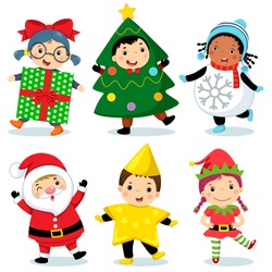 Vector illustration of cute kids wearing Christmas costumes