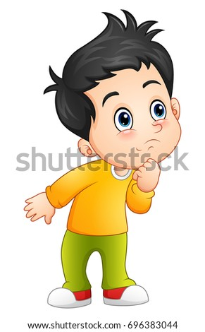 Vector illustration of Cute little boy looking up