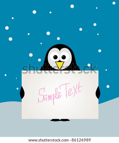 Vector Illustration of cute penguin with blank sign.