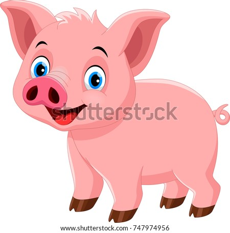Vector illustration of cute pig cartoon isolated on white background #747974956