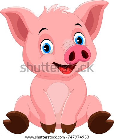 Vector illustration of cute pig cartoon sitting isolated on white background #747974953