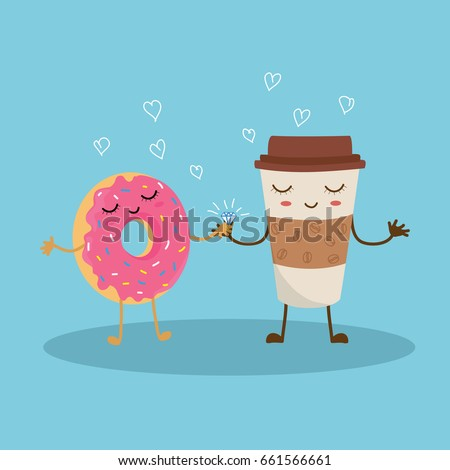 Vector illustration of cute pink cartoon donut and coffee with face on blue background, can be used for valentine's day greeting cards, wedding's day greeting cards, party invitations, posters.