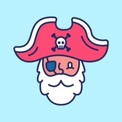 vector illustration of cute pirate head flat