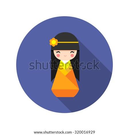 Vector illustration of cute round Japanese Kokeshi Doll icon.