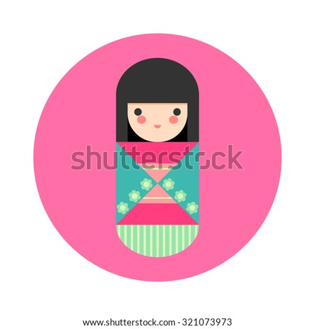 Vector illustration of cute round Japanese Kokeshi Doll icon.