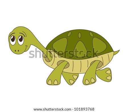 Cute cartoon turtle with big eyes - photo#21