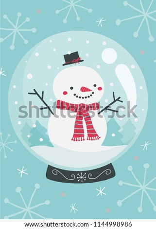 Vector illustration of cute smiling snowman inside snowglobe wearing a red scarf
