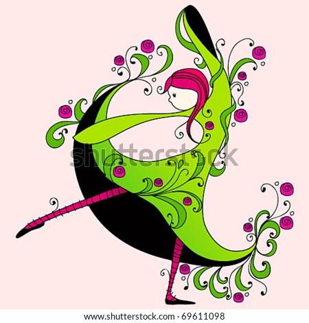 Vector illustration of cute spring girl dancing