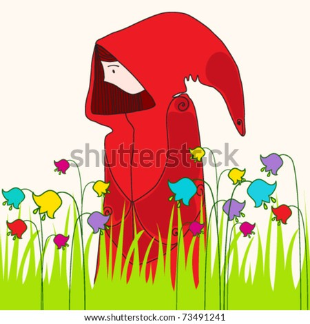 Vector illustration of cute spring girl in meadow - stock vector