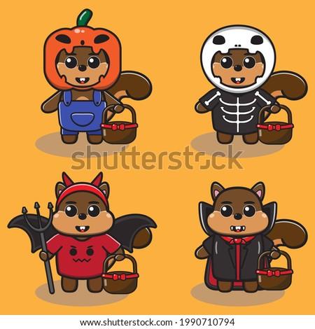 Vector illustration of cute Squirrel Hallowen cartoon set. Pumpkin monster, Skeleton, Devil and Dracula costume. Good for icon, logo, label, sticker, clipart. Stock photo ©