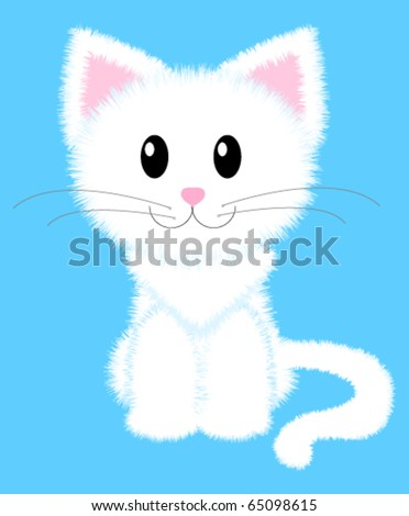 Vector illustration of cute white cat