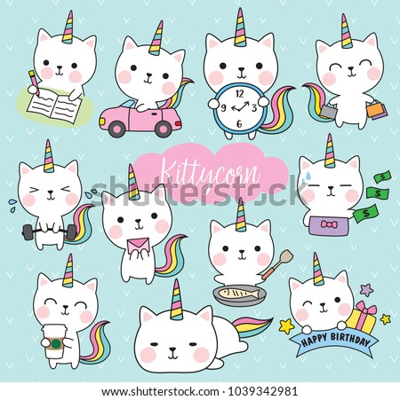 Vector illustration of cute white cat unicorn or caticorn life activity planner including working, shopping, cooking, driving, working out, etc.