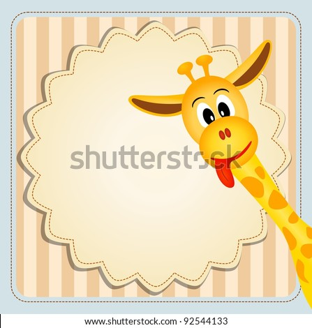 vector illustration of cute young giraffe on decorative background - birthday invitation