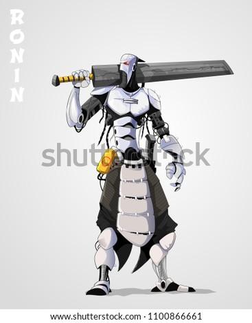 Stock Photo Vector illustration of cyborg with sword. Cartoon vector