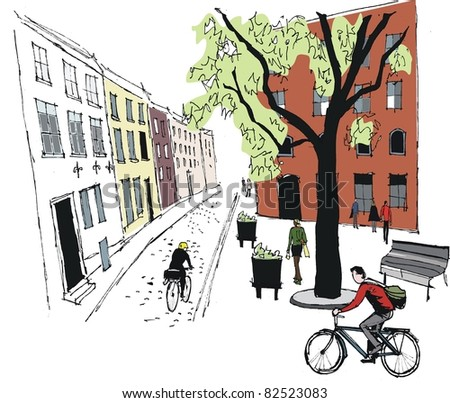 Vector illustration of cyclists in old Stockholm street, Sweden