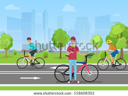 vector illustration of cyclists ...