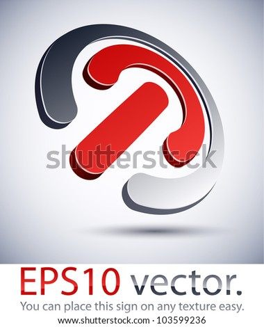Vector illustration of 3D abstract rounded business symbol.