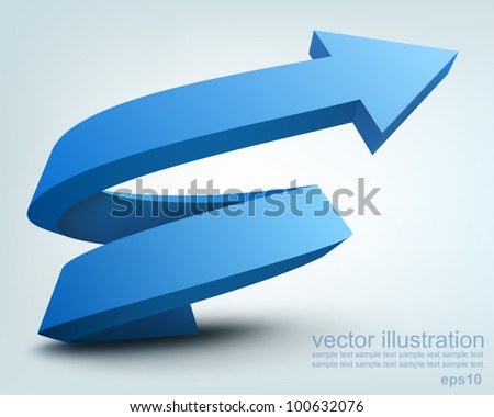 Vector illustration of 3D arrow logo design