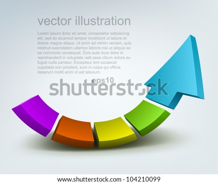 Vector illustration of 3d arrow, logo design