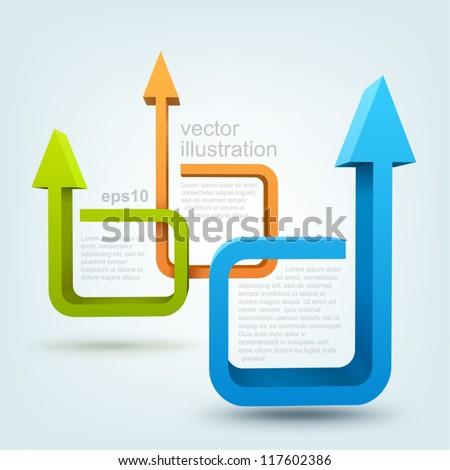 Vector illustration of 3d arrows, logo design