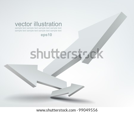 Vector illustration of 3d arrows, logo design