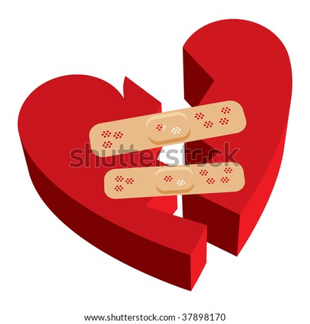 Vector illustration of 3D broken heart with bandages - stock vector