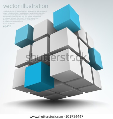 Vector illustration of 3d cubes, logo design - stock vector