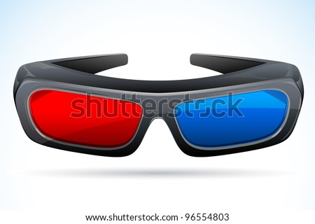 vector illustration of 3d glasses against abstract background