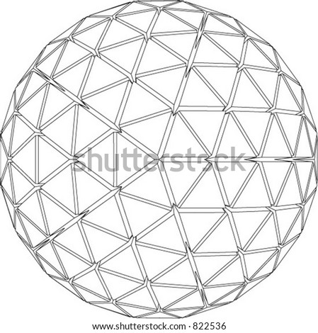 Vector illustration of 3d globe with triangular extruded faces