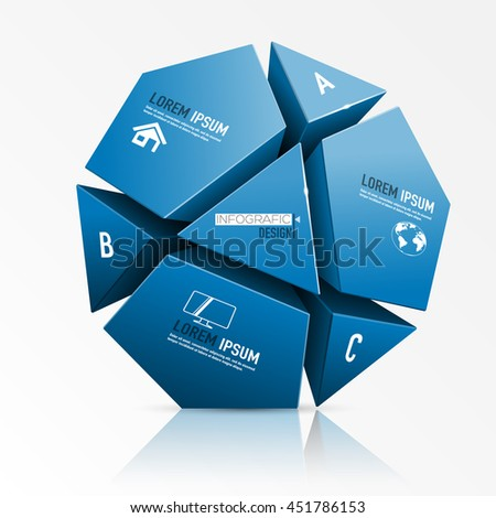 Vector illustration of 3d object. Infographic design.