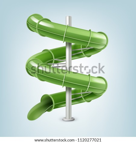 Vector illustration of 3d screw slides realistic waterpark pool aquapark aqua park