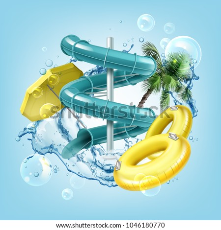 Vector illustration of 3d screw slides realistic waterpark pool aquapark aqua park splash beach umbrella bubbles and lifebuoy palm - Shutterstock ID 1046180770