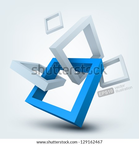 Vector illustration of 3D shapes logo design
