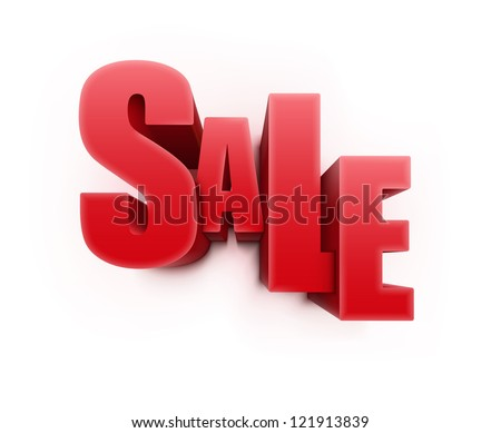 Vector illustration of 3d word SALE in red glossy color