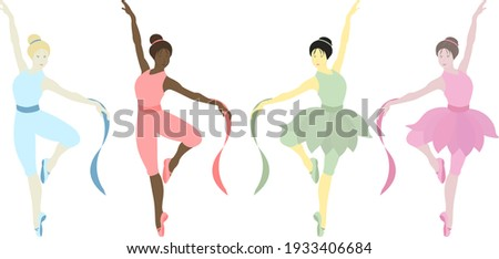 Vector illustration of dancing ballerinas. Prima in tutu skirt ballet costumes and pointe shoes. Girls have different skin colors. Ethnicity (national): African, Asian, Chinese, European. Choreography Stockfoto ©