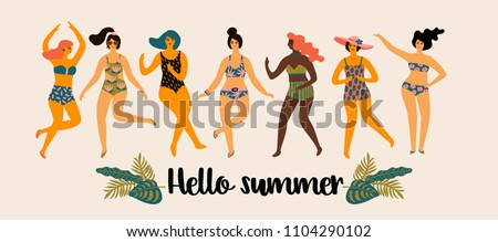 Vector illustration of dancing ladyesin swimsuits. Design element for summer party concept and other use.