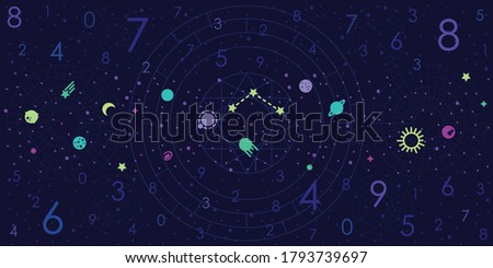vector illustration of dark blue astrology background for numerology predictions and horoscope forecasts stock photo