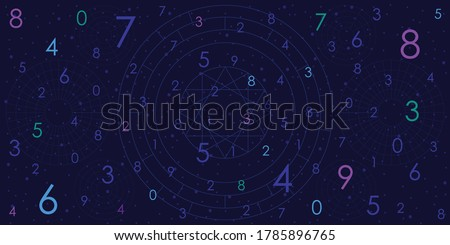 vector illustration of dark blue geometric background for numerology predictions and fortune telling stock photo