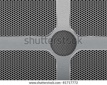 Vector Illustration of dark hexagon metal grill texture with steel panels. EPS 10.